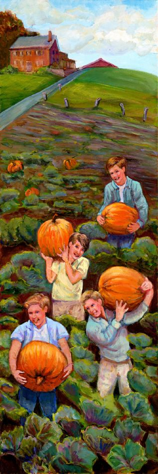 Bringing In the Pumpkins -SOLD  GICLEE AVAILABLE - Copyright Marcia Feller2006